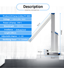 Load image into Gallery viewer, 2020 UV 253.7nm Clinic Sterile Air High Intensity UVC Lamp