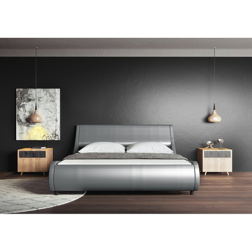 SILVER Upholstered Low Profile Platform Bed