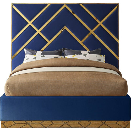 NAVY/GOLD Rogin Upholstered Flatform Bed