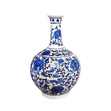 Load image into Gallery viewer, Classic Blue and White Porcelain Floral Decorative Vase - EK CHIC HOME