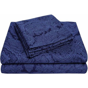 600 Thread Count Wrinkle-Resistant Luxury Cotton Italian Paisley Sheet Set - EK CHIC HOME