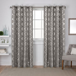 2 Pack Metallic Geometric Top Curtain Panels - EK CHIC HOME