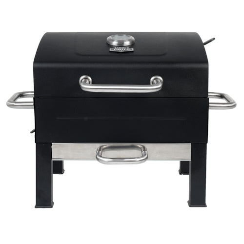Premium Portable Charcoal Grill, Black and Stainless Steel