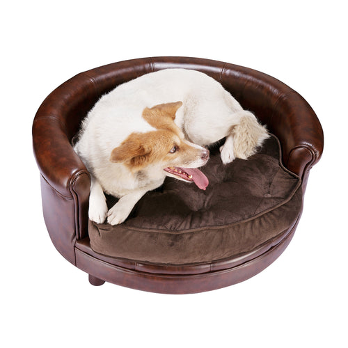 Chesterfield Faux Leather Large Dog Bed Designer Pet Sofa - EK CHIC HOME