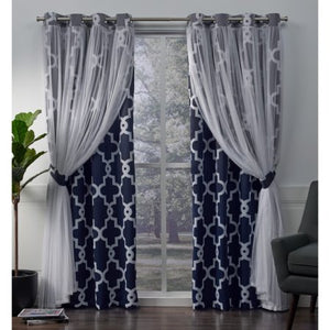 2 Pack Alegra Layered Geometric Blackout and Sheer Grommet Top Curtain Panels - EK CHIC HOME