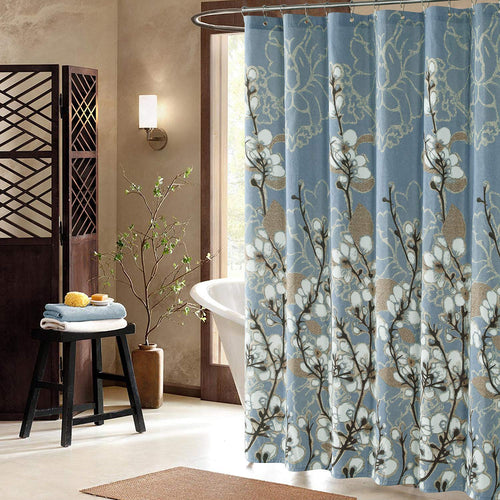 Hanakotoba Blue Shower Curtain,Flower Polyester Fabric - EK CHIC HOME