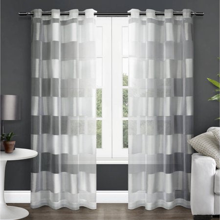 2 Pack Striped Sheer Top Curtain Panels - EK CHIC HOME