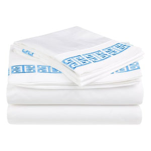 Superior Greek Border Cotton Sheet Set - EK CHIC HOME