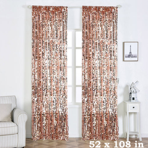 52 x 108-Inch Sequin Curtains Drapes Panels Window Treatments - EK CHIC HOME