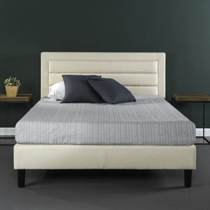 Upholstered Horizontal Detailed Platform Bed - EK CHIC HOME