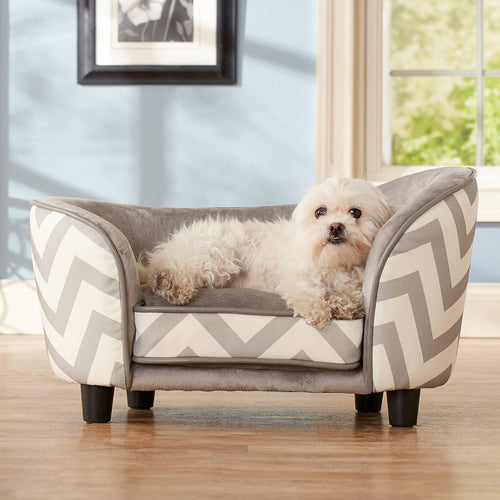 Pet Snuggle Dog Bed, Gray Chevron, X-Small, 27