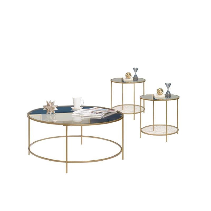 3 Piece Coffee Table Set with Coffee Table and Set of 2 End Table in Satin Gold - EK CHIC HOME