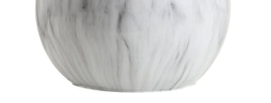 "Luna 21.5"" Faux Marble Resin LED Table Lamp, White/Brass Gold - EK CHIC HOME"