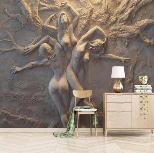 European Style 3D Stereoscopic Art Relief Angel Nude Statue - EK CHIC HOME