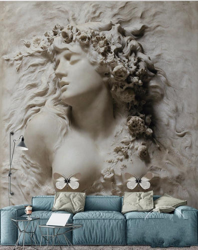3D Relief Beauty Wall Background Wall Painting - EK CHIC HOME