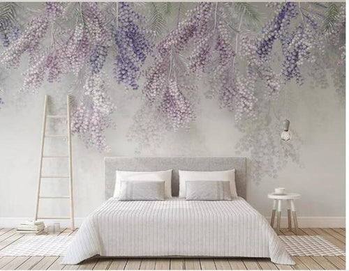 3D Fresh Hanging Purple Rattan Cane Wall Murals - EK CHIC HOME