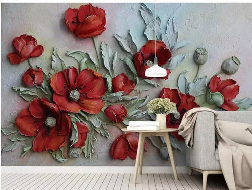 3D Embossed Floral Wallpaper, Red Poppy - EK CHIC HOME