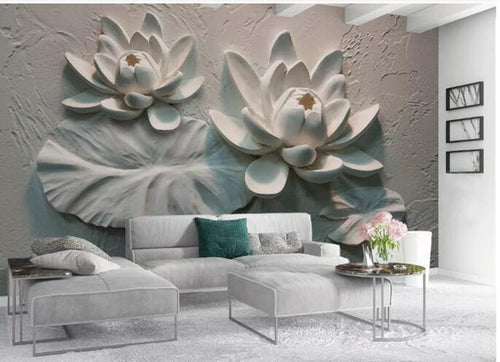 3D Embossed Lotus Floral Wallpaper - EK CHIC HOME