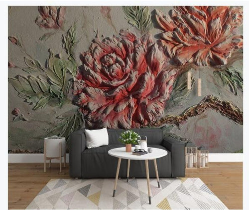 Oil Painting Two Red Rose Wallpaper - EK CHIC HOME
