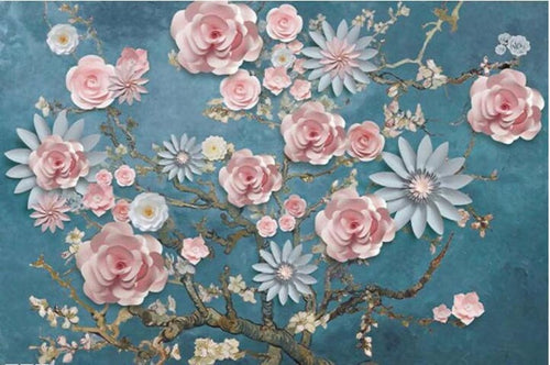 3D Embossed Wallpapers Rose Flower - EK CHIC HOME