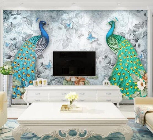 Oil Painting Two Big Green Peacocks Wallpaper, - EK CHIC HOME