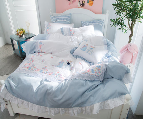 Luxury Egypt Cotton Fairy tales Lace Bedding Set - Embroidery Ruffles Duvet 4/6/7Pcs - EK CHIC HOME