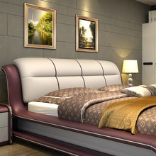 Load image into Gallery viewer, Genuine Leather Modern Bed W/Set of 2 Stands - EK CHIC HOME