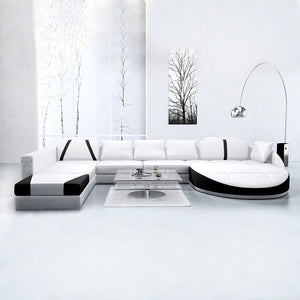 White 2PCS Chaise Lounge Leather Sofa Set - EK CHIC HOME