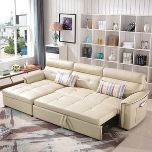 L Shaped Leather Modern Sectional Sofa BED - EK CHIC HOME