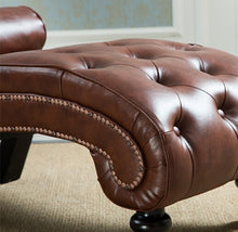 Load image into Gallery viewer, Classic Leather Chaise Lounge Sofa With Pillow Living Room Furniture - EK CHIC HOME