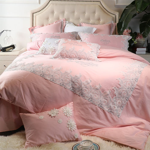 4/6/7Pcs Egypt Cotton Satin Elegant Princess luxury Bedding Set - EK CHIC HOME