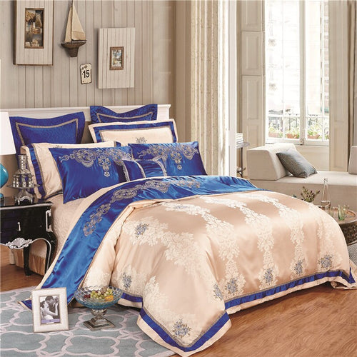 Silk Cotton Satin Luxury Jacquard Bedding Set - Duvet 4/6/8/9Pc - EK CHIC HOME