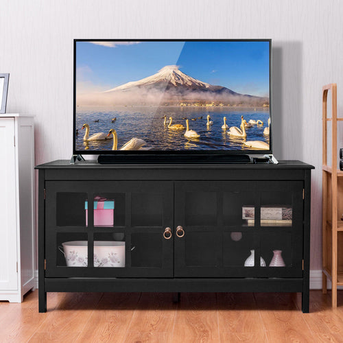 50'' TV Stand Modern Living Room Wood Storage Console Entertainment Center - EK CHIC HOME