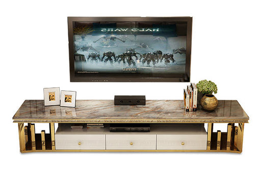Natural Marble Stainless Steel TV Stand Living Room Home Furniture - EK CHIC HOME