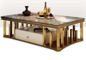 Luxury Natural Marble Stainless Steel Coffee Table - EK CHIC HOME