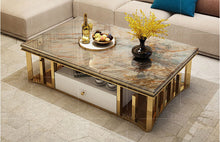 Load image into Gallery viewer, Luxury Natural Marble Stainless Steel Coffee Table - EK CHIC HOME