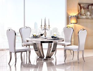 5PCS Marble AND Stainless Steel Dining Room Set - EK CHIC HOME