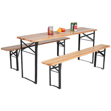 Load image into Gallery viewer, 3 PCS Table Bench Set Folding Wooden Top Picnic Table - EK CHIC HOME