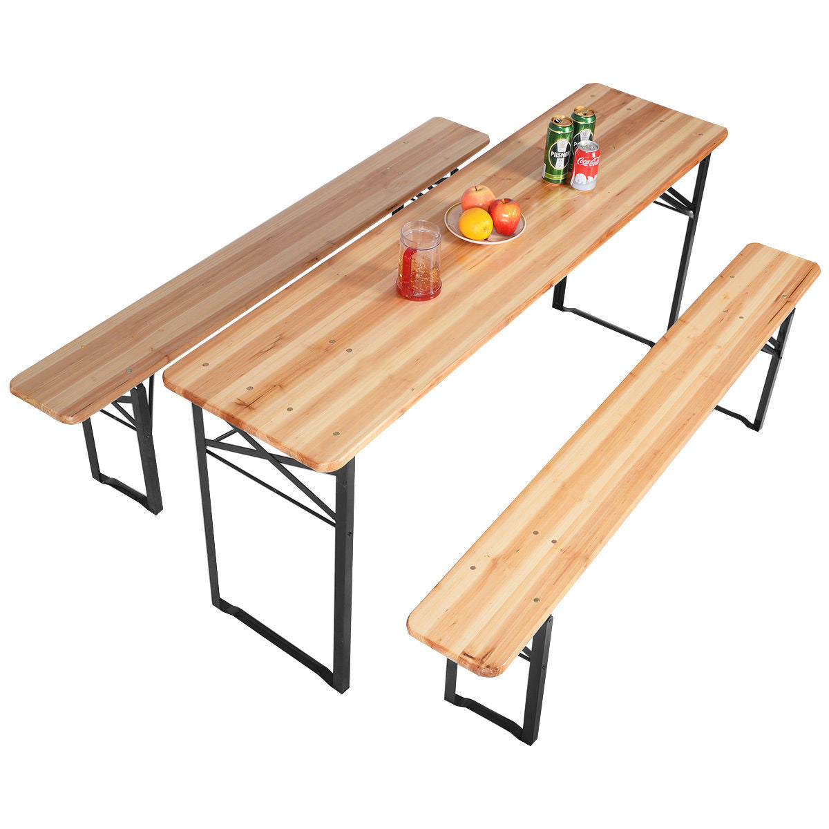 - 3 PCS Table Bench Set Folding Wooden Top Picnic Table – EK CHIC HOME