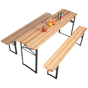 3 PCS Table Bench Set Folding Wooden Top Picnic Table - EK CHIC HOME