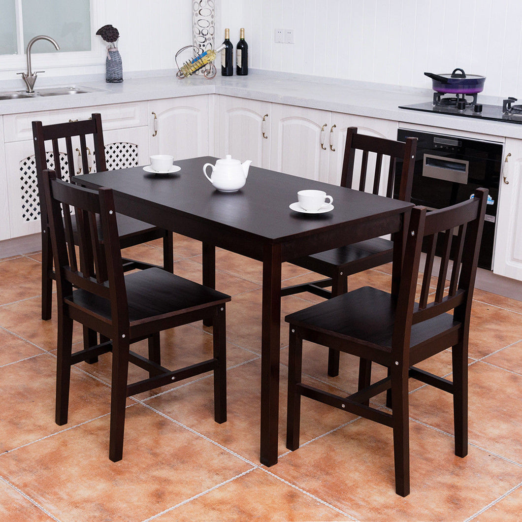 5PCS Solid Pine Wood Dining Set Table and 4 Chairs - EK CHIC HOME