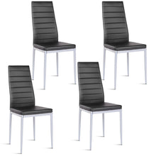 Load image into Gallery viewer, Set of 4 PU Leather Dining Side Chairs Elegant Design Home Furniture Black - EK CHIC HOME