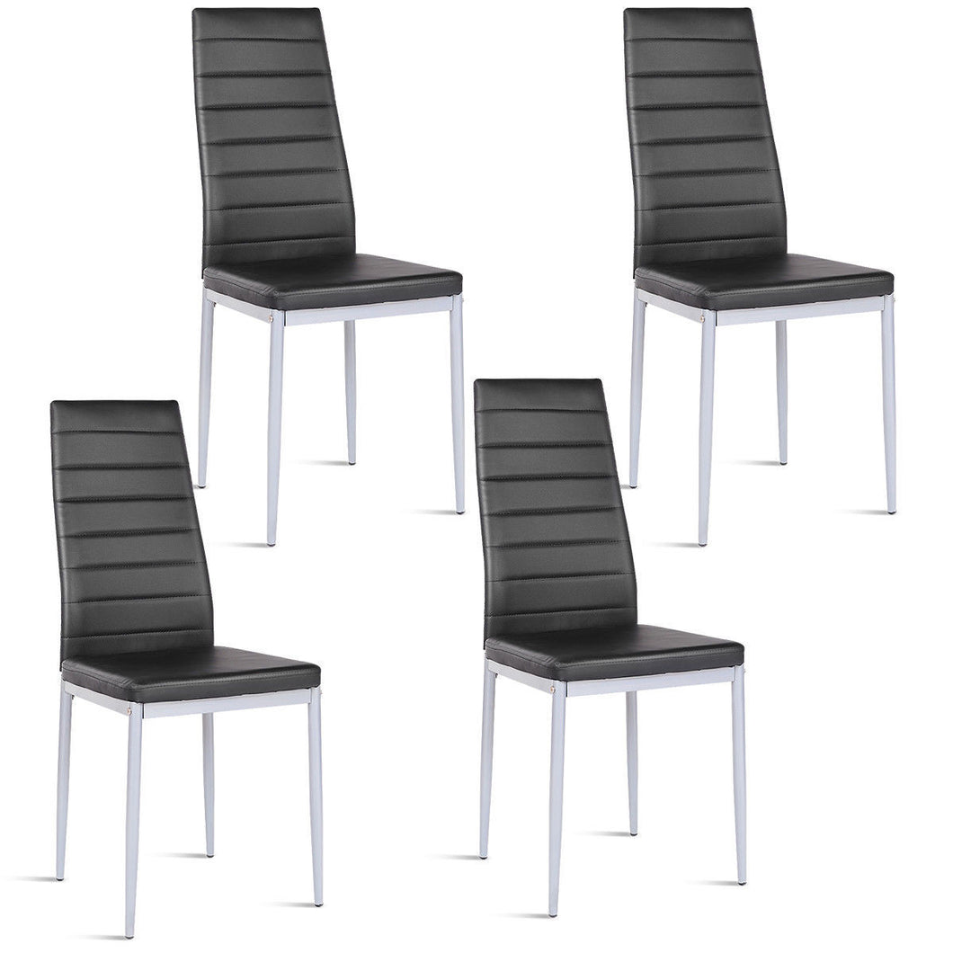Set of 4 PU Leather Dining Side Chairs Elegant Design Home Furniture Black - EK CHIC HOME