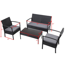 Load image into Gallery viewer, 4 PCS Outdoor Patio Rattan Wicker Furniture Set Table Sofa Cushioned Deck Black - EK CHIC HOME