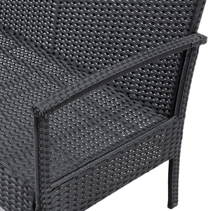 4 PCS Outdoor Patio Rattan Wicker Furniture Set Table Sofa Cushioned Deck Black - EK CHIC HOME