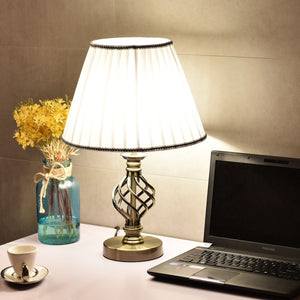 "Set of 2 13"" Antique Brass Bedside Table Lamp w/ LED Bulb Office Bedroom Light - EK CHIC HOME"