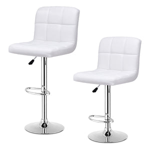 Set Of 2 Bar Stools PU Leather Adjustable Swivel Pub Chairs White - EK CHIC HOME