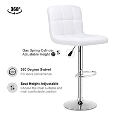 Load image into Gallery viewer, Set Of 2 Bar Stools PU Leather Adjustable Swivel Pub Chairs White - EK CHIC HOME