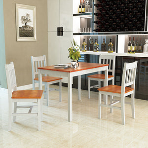 5PCS Pine Wood Dinette Dining Set Table and 4 Chairs Home Kitchen Furniture - EK CHIC HOME