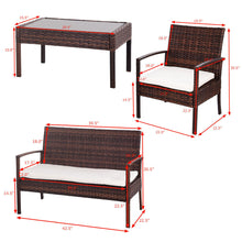 Load image into Gallery viewer, 4 Pc Rattan Patio Furniture Set Garden Lawn Sofa Wicker Cushioned Seat - EK CHIC HOME